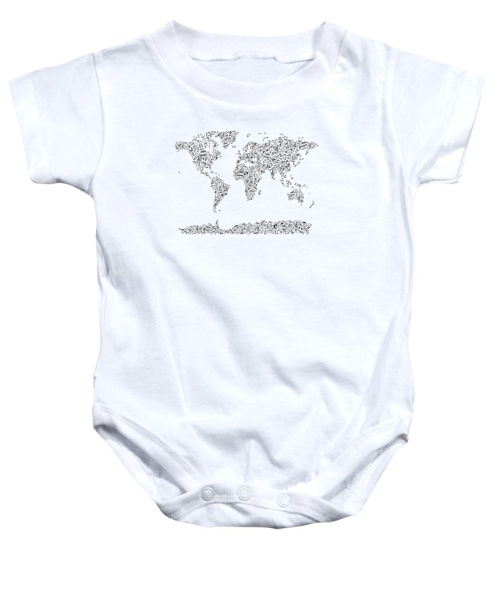 World Map Baby Onesie featuring the digital art Music Notes Map Of The World by Michael Tompsett