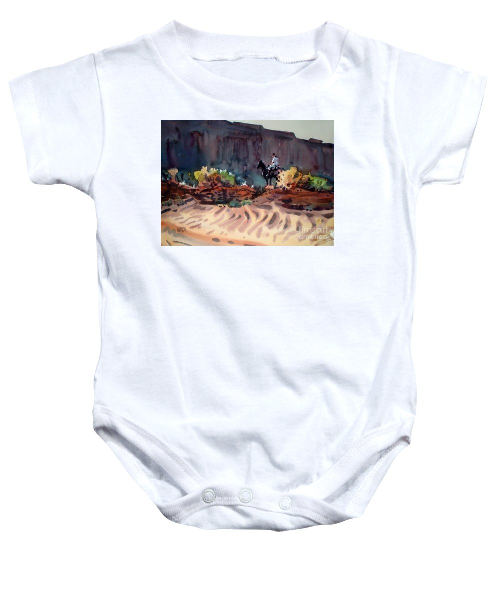 Equestrian Baby Onesie featuring the painting Navajo Rider by Donald Maier