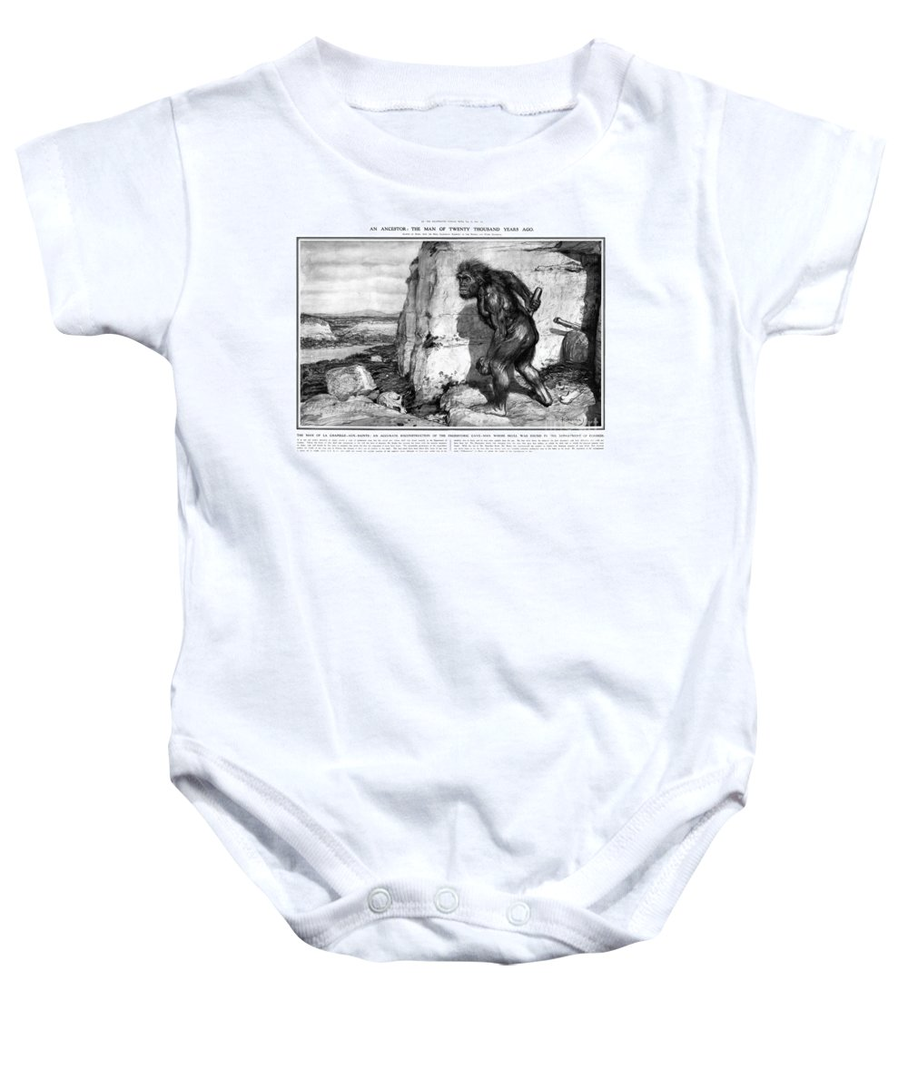 1909 Baby Onesie featuring the photograph Neanderthal Man by Granger