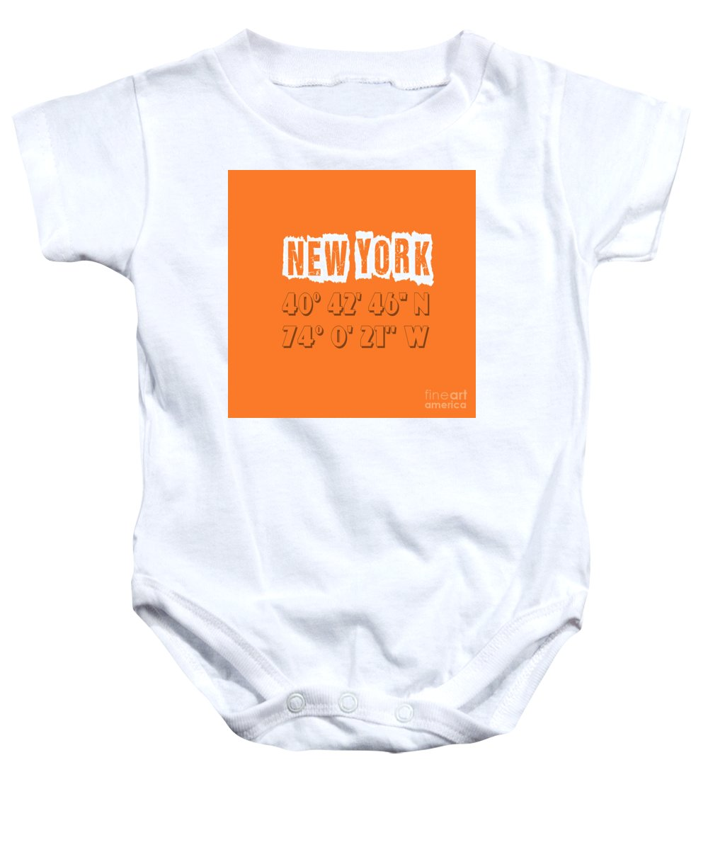 New York Baby Onesie featuring the digital art New York Coordinates by Voros Edit