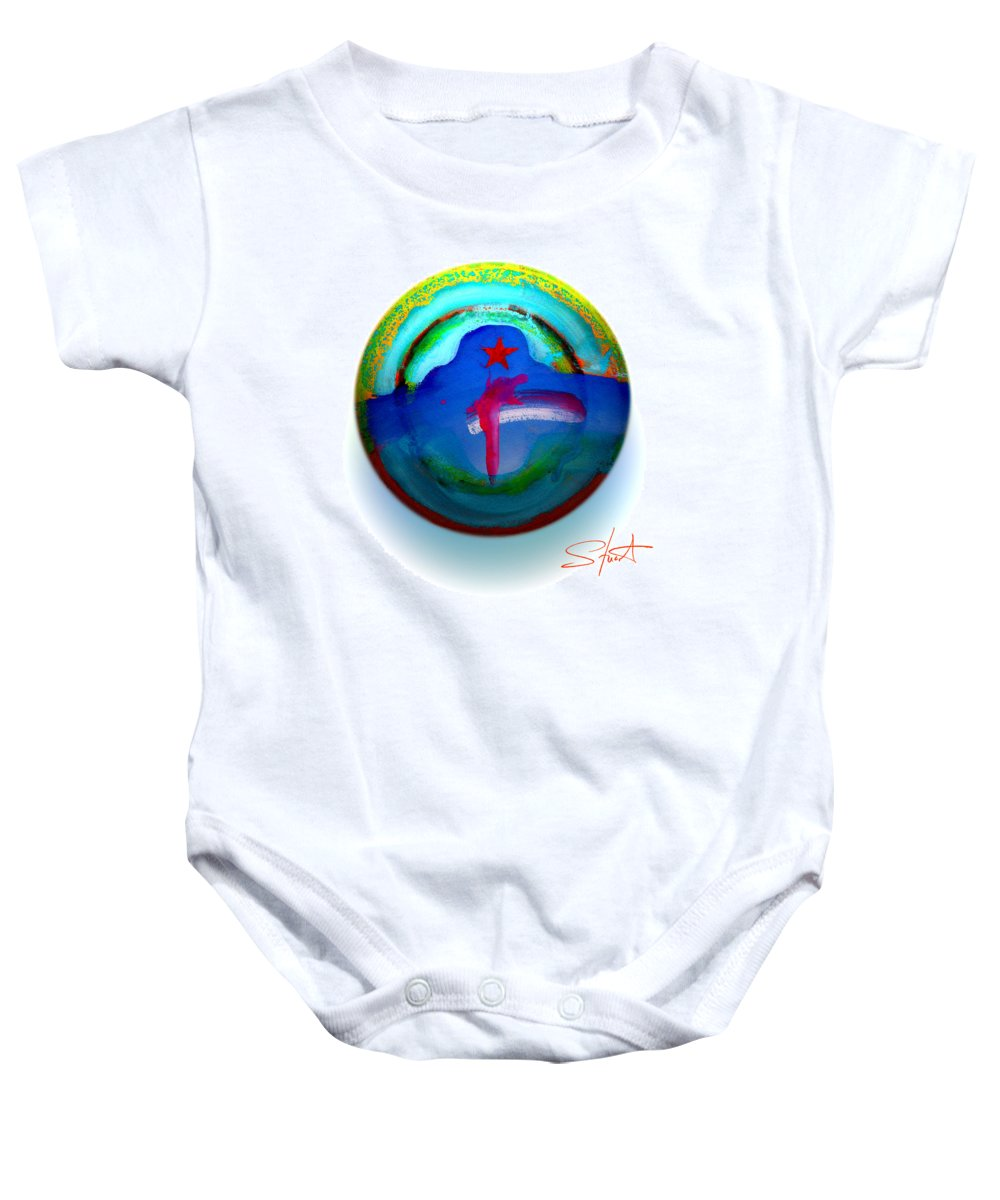 9/11 Baby Onesie featuring the painting One Tower by Charles Stuart