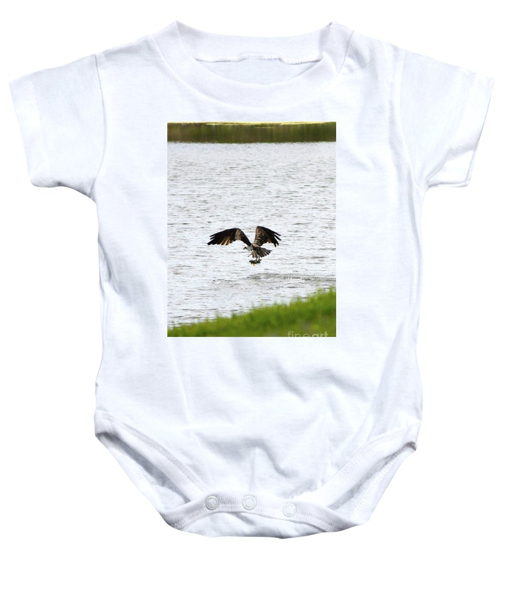 Bird With Fish Baby Onesie featuring the photograph Osprey Fishing In The Afternoon by Carol Groenen