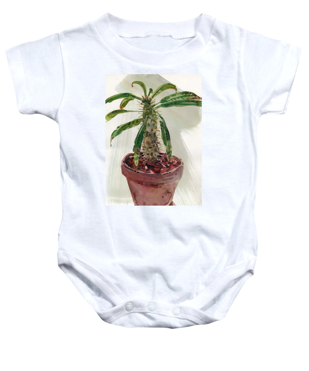 Euphorbia Baby Onesie featuring the painting Pachypodium by Donald Maier