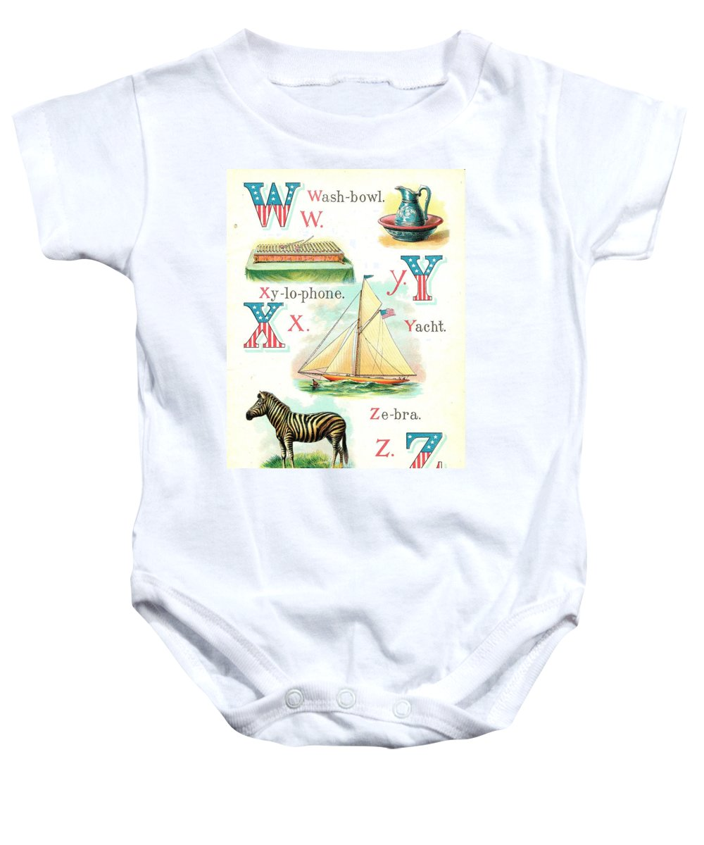 Baby Onesie featuring the painting Patriot Abc Book Page Twelve by Reynold Jay