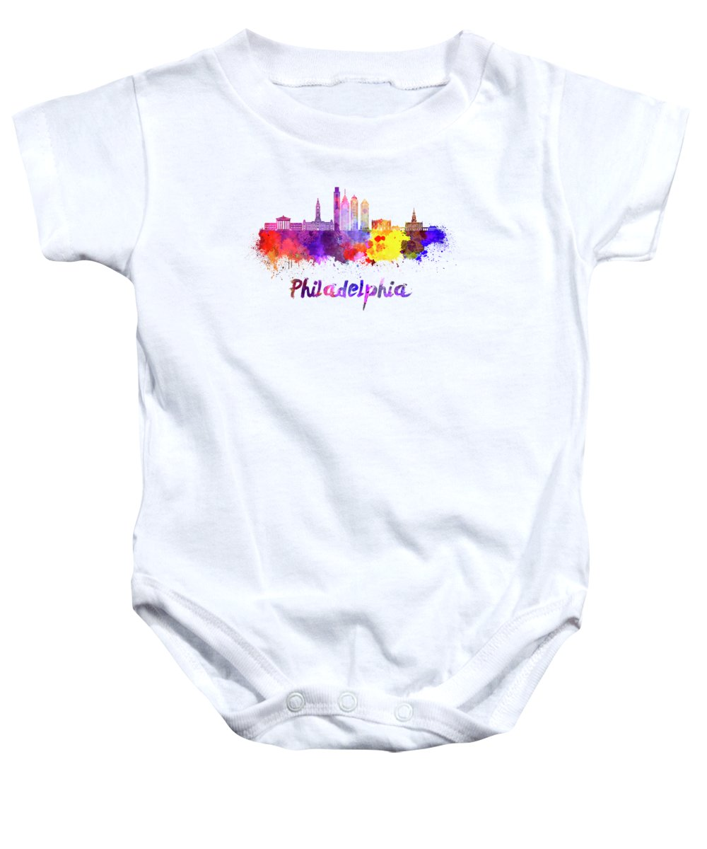Philadelphia Skyline Baby Onesies