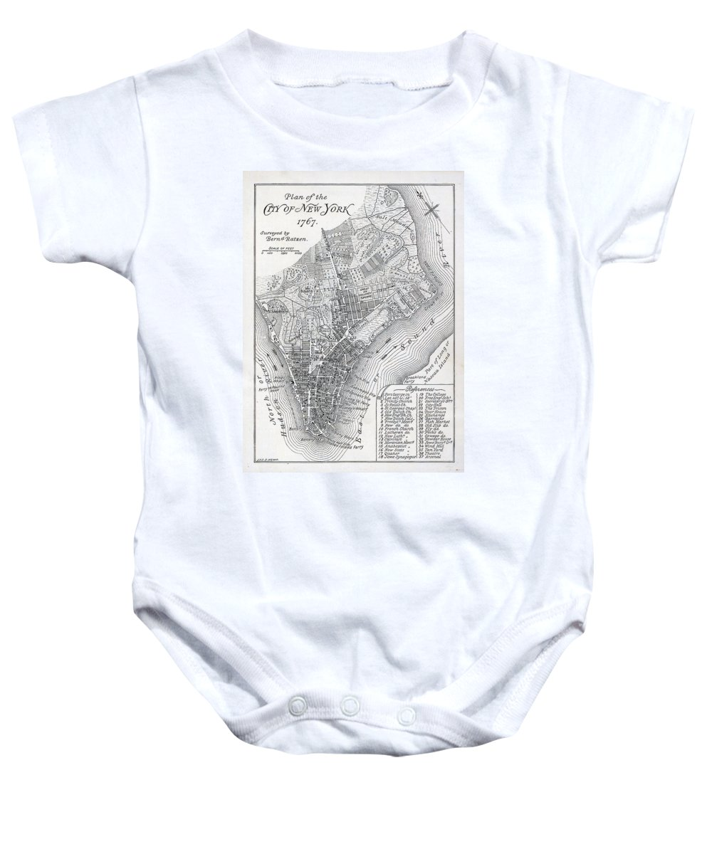 Mapping; Cartography; Territory; Manhattan; Map; Nyc; Usa; United States ; America; American; Metropolis Baby Onesie featuring the painting Plan Of The City Of New York by American School