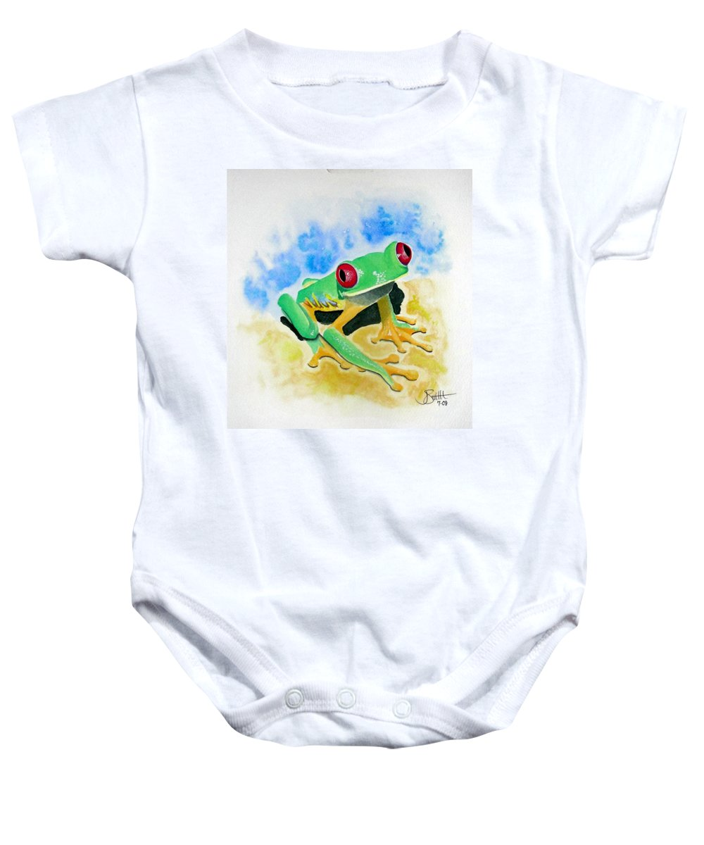 Amphibian Baby Onesie featuring the painting Red Eyed Tree Frog by Jimmy Smith