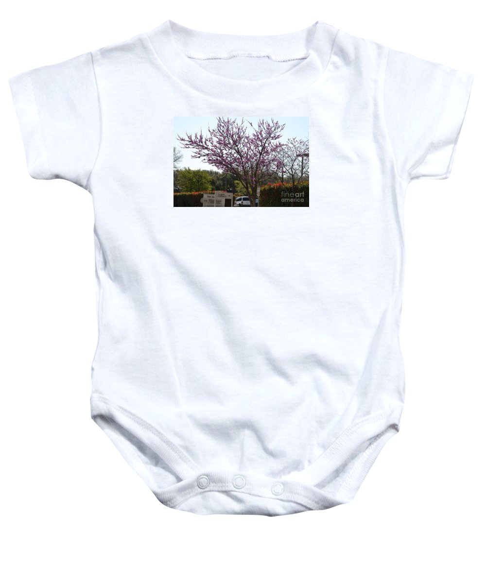 Redbud Tree Prints Baby Onesie featuring the photograph Redbud Tree by Ruth Housley