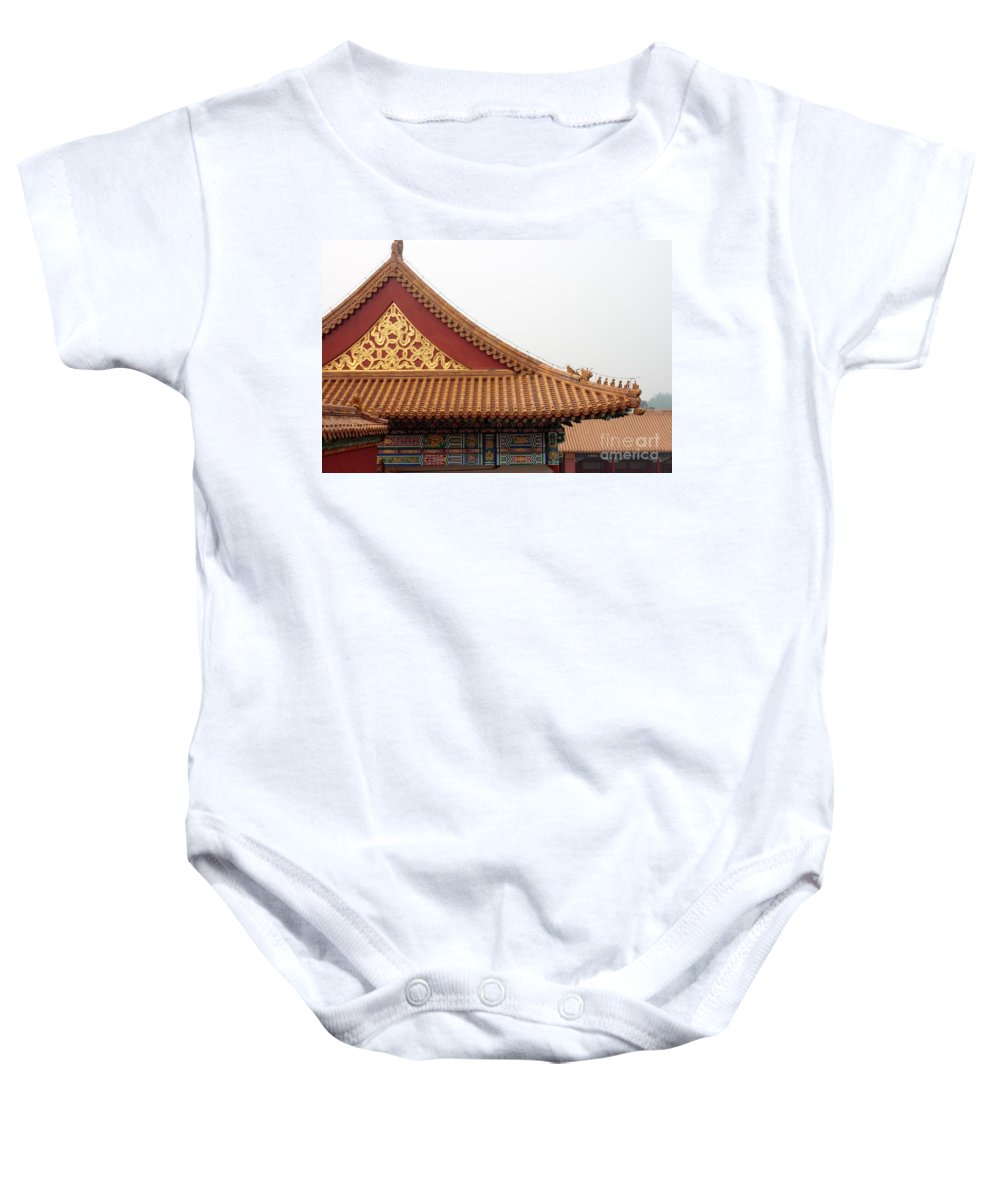China Baby Onesie featuring the photograph Roof Forbidden City Beijing China by Thomas Marchessault