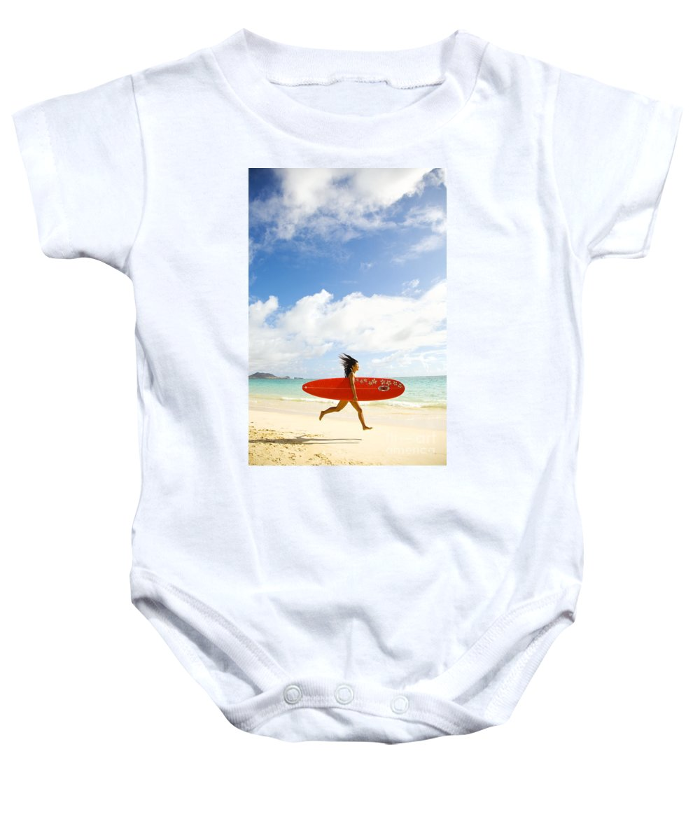 Afternoon Baby Onesie featuring the photograph Running With Surfboard by Dana Edmunds - Printscapes