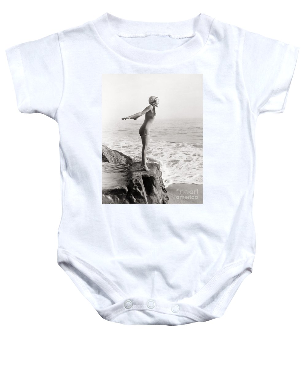 -bathing: Women's Suit & Pool- Baby Onesie featuring the photograph Silent Still: Bather by Granger