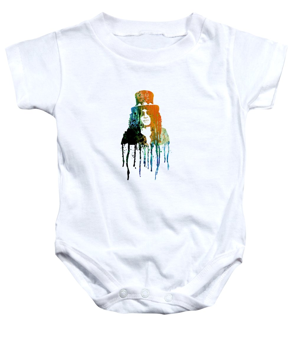 Slash Baby Onesie featuring the painting Slash by Art Popop