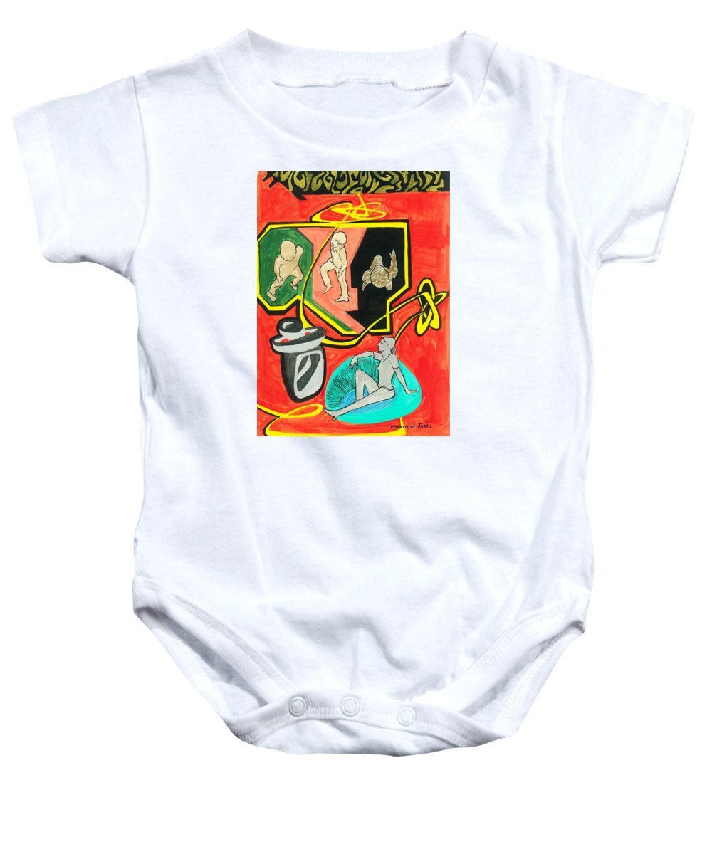 Baby Onesie featuring the painting Some Of Us Prefer To Work While Others Simply To Rest. by Makarand Joshi
