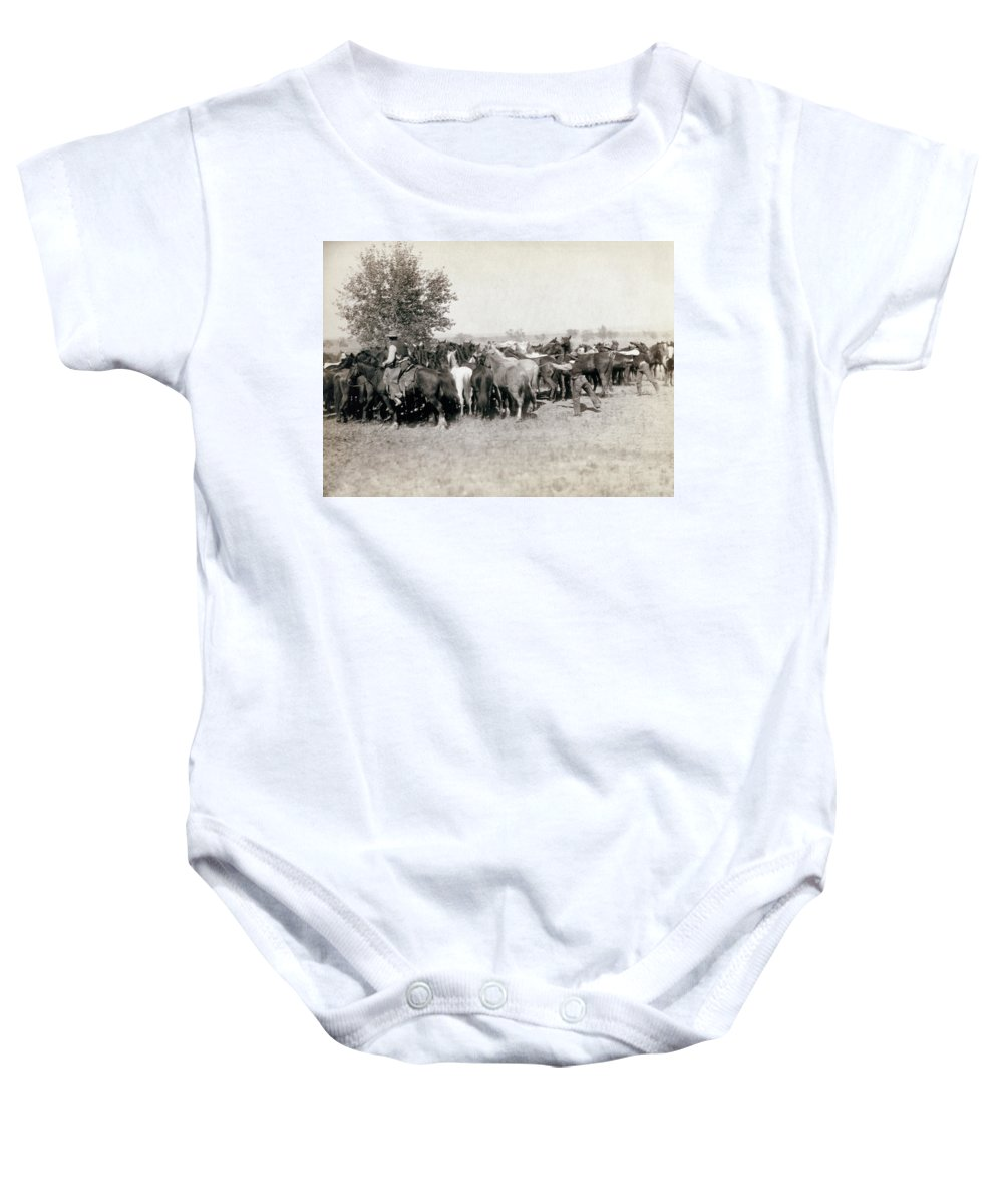 1892 Baby Onesie featuring the photograph South Dakota: Cowboys by Granger