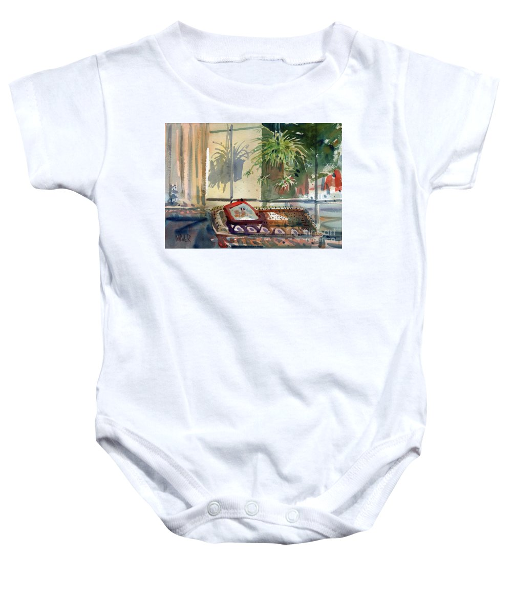 Spider Plant Baby Onesie featuring the painting Spider Plant In The Window by Donald Maier
