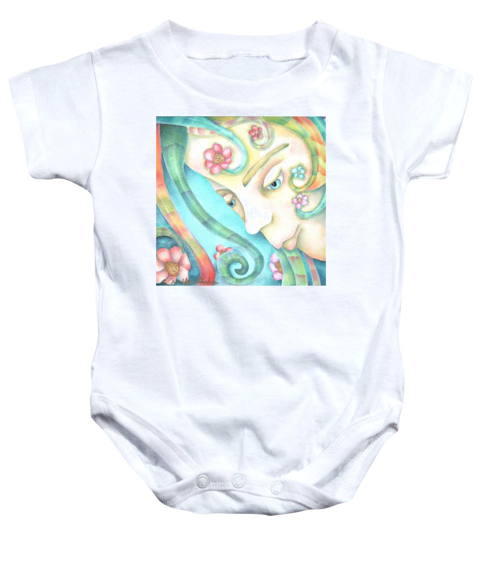 Baby Onesie featuring the painting Sprite Of Giving Hearts by Jeniffer Stapher-Thomas