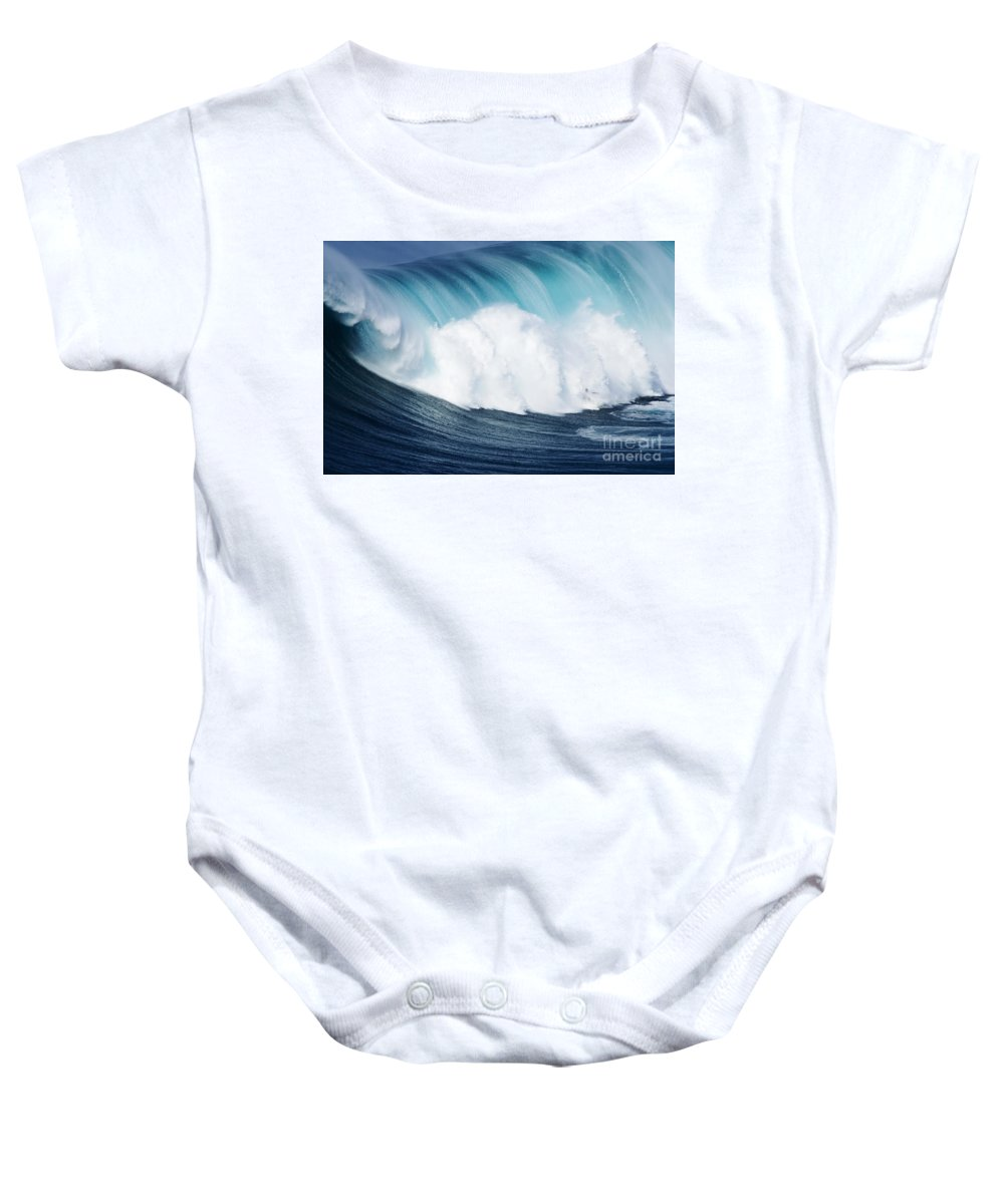Adrenaline Baby Onesie featuring the photograph Surfing The Infamous Jaws by Ron Dahlquist - Printscapes