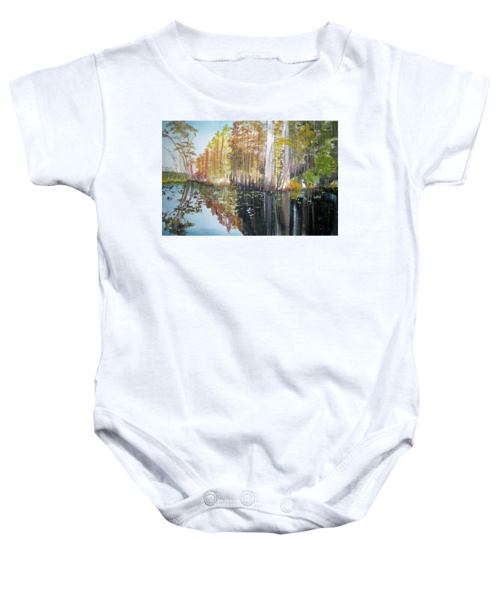 Landscape Of A South Florida Swamp At Dusk Feels Very Wild Baby Onesie featuring the painting Swamp Reflection by Hal Newhouser