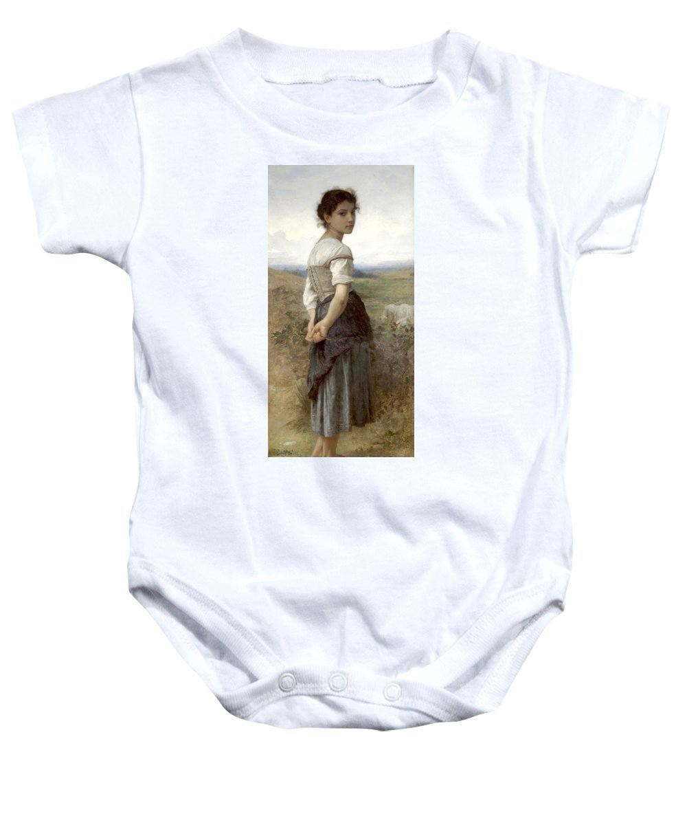 William-adolphe Bouguereau (1825-1905) - The Girl Baby Onesie featuring the painting The Girl by MotionAge Designs