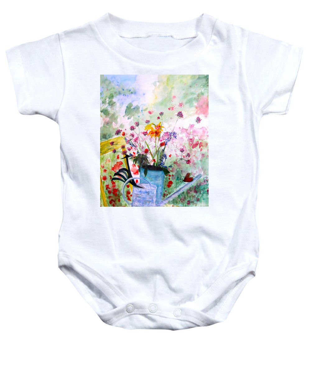Butterfly Baby Onesie featuring the painting The Resting Place by Beth Saffer