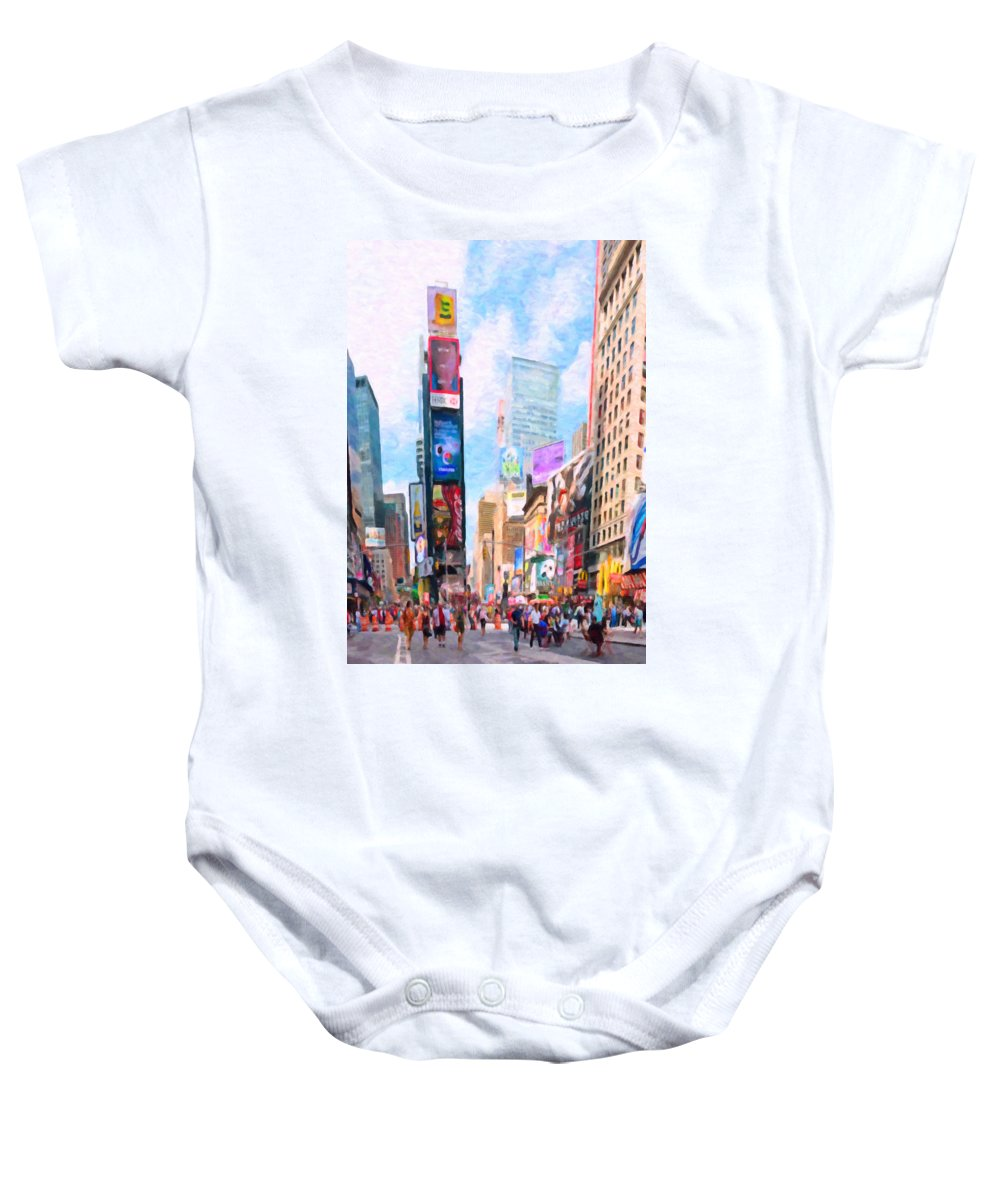 New Baby Onesie featuring the painting Times Square by Jeelan Clark