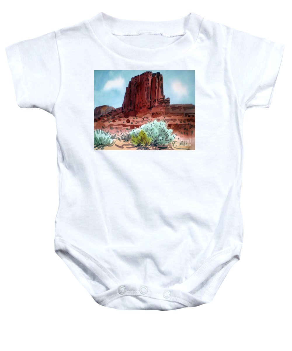 Elephants Butte Baby Onesie featuring the painting Two Elephants Butte by Donald Maier