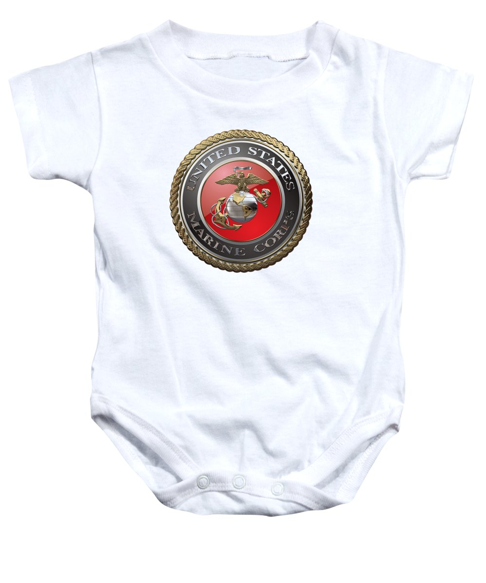 'usmc' Collection By Serge Averbukh Baby Onesie featuring the digital art U. S. Marine Corps - U S M C Emblem Over White Leather by Serge Averbukh