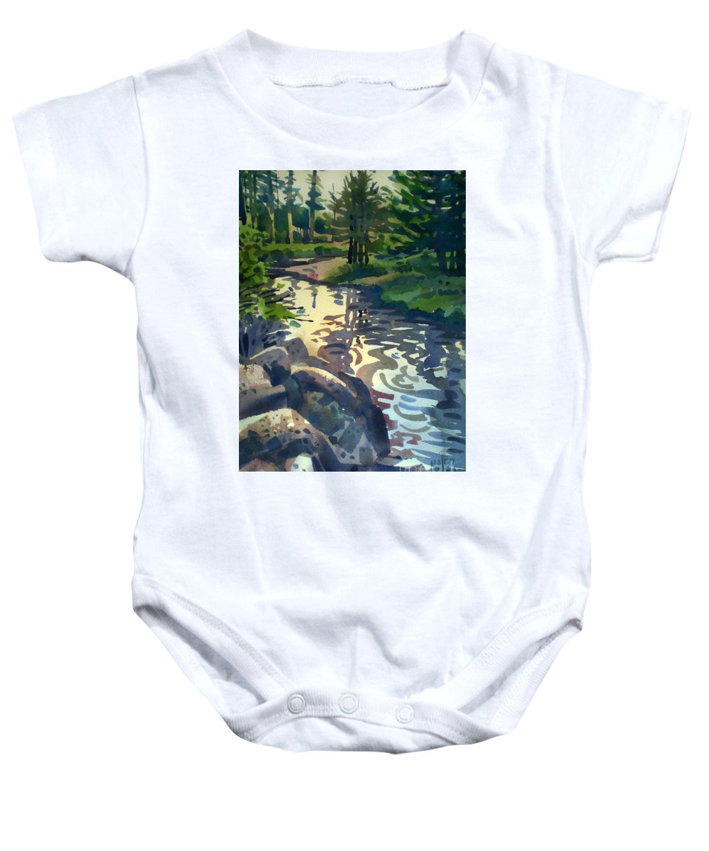 Stream Baby Onesie featuring the painting Up With The Fishes by Donald Maier