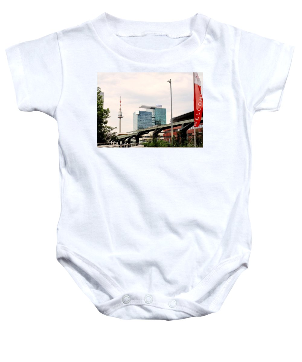 Vienna Baby Onesie featuring the photograph Vienna Modern by Ian MacDonald