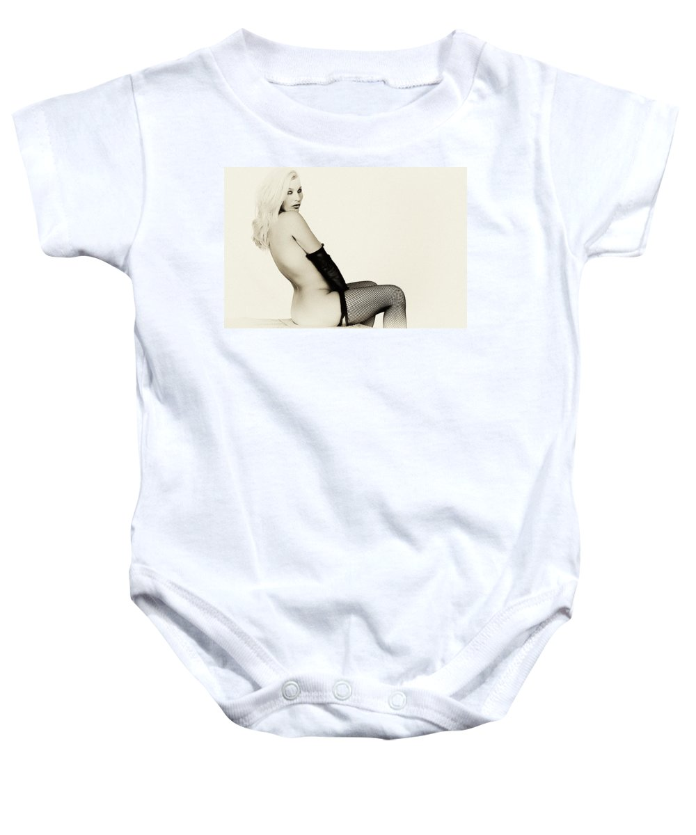 Clay Baby Onesie featuring the photograph Vintage Pinup Glamour by Clayton Bruster