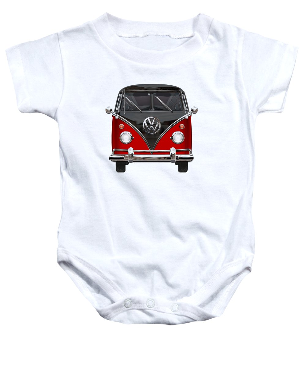 'volkswagen Type 2' Collection By Serge Averbukh Baby Onesie featuring the photograph Volkswagen Type 2 - Red and Black Volkswagen T 1 Samba Bus on White by Serge Averbukh