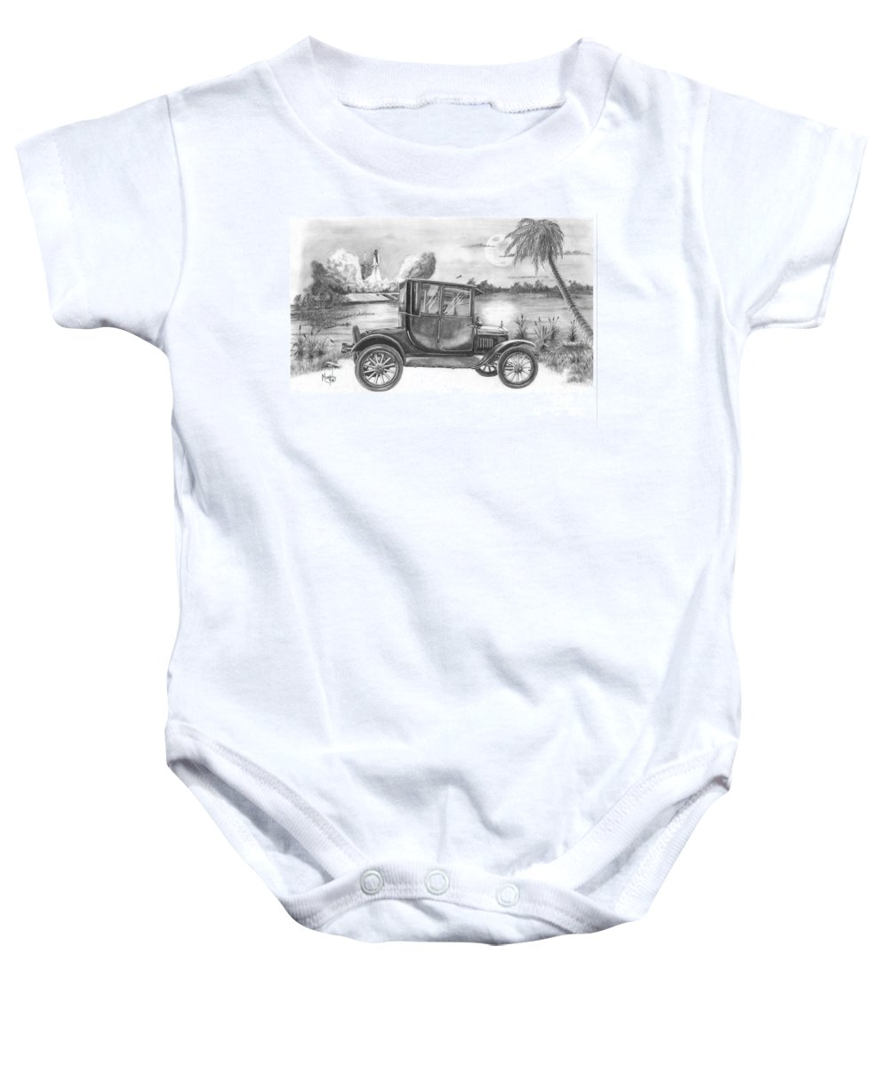 Pencil Baby Onesie featuring the drawing Yesterday and Today by Murphy Elliott