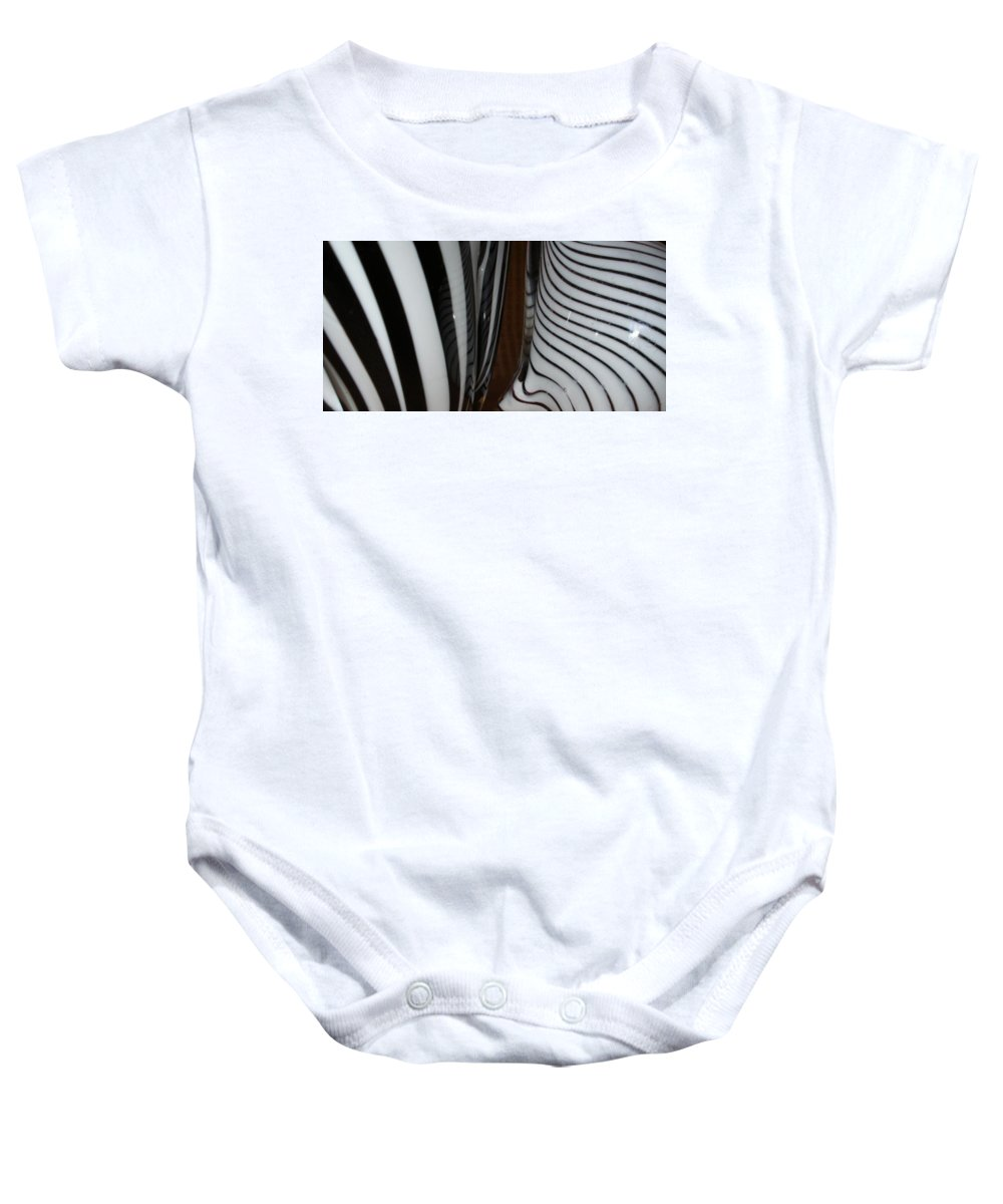 Blac Baby Onesie featuring the photograph Zebra Glass by Maria Bonnier-Perez