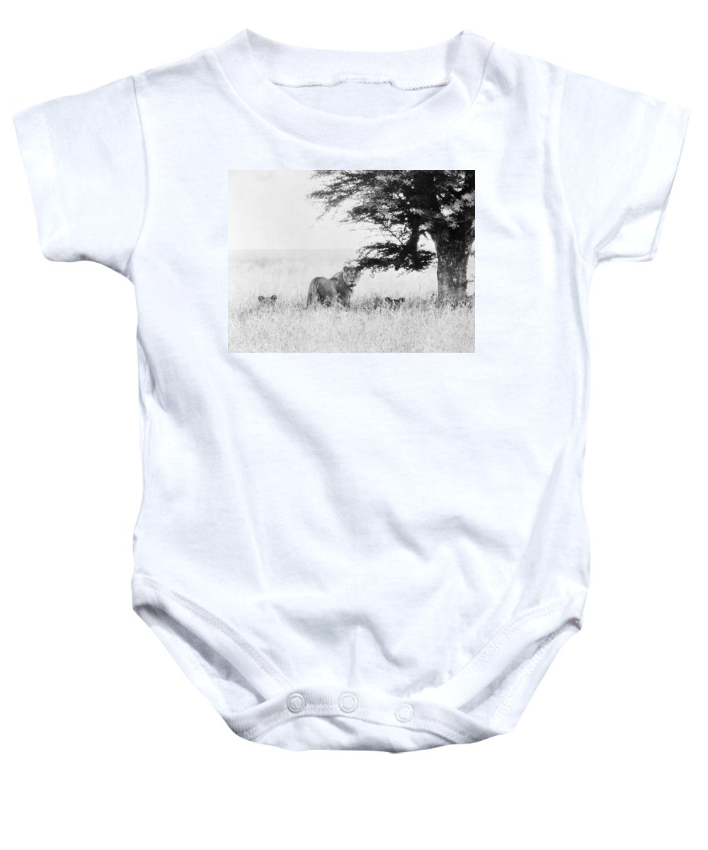 20th Century Baby Onesie featuring the photograph Lion by Granger