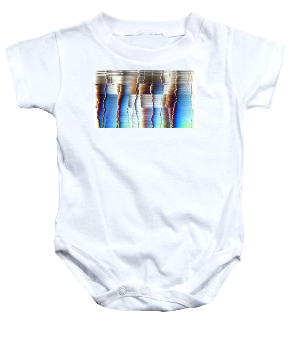 Rithmart Abstract Fade Fading Lines Organic Random Computer Digital Shapes Fading Layers Lines Reflected Baby Onesie featuring the digital art 16x9.186-#rithmart by Gareth Lewis