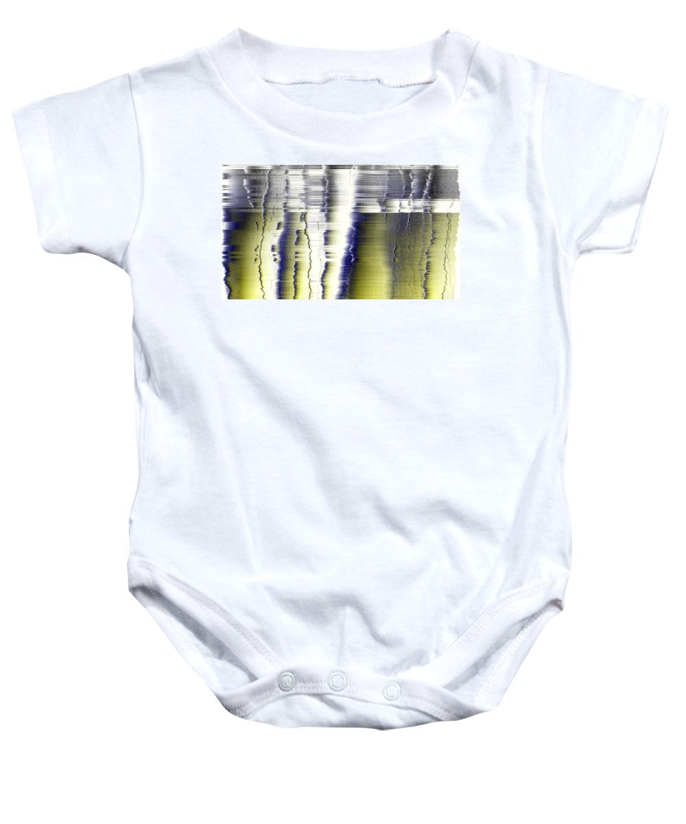Rithmart Abstract Fade Fading Lines Organic Random Computer Digital Shapes Fading Layers Lines Reflected Baby Onesie featuring the digital art 16x9.188-#rithmart by Gareth Lewis