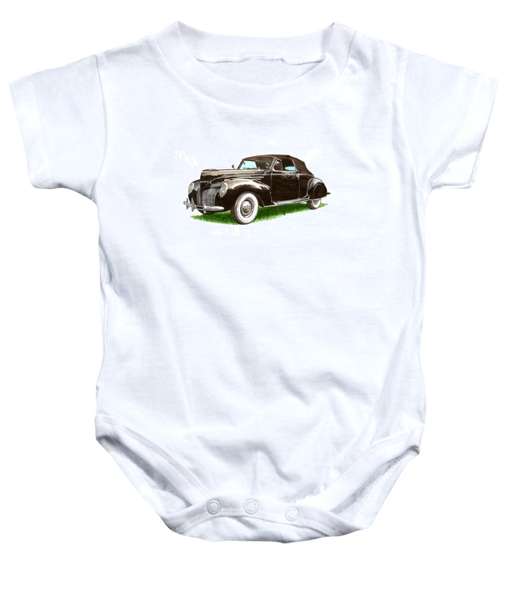 Black Convertibles Baby Onesie featuring the painting 1937 Lincoln Zephyer by Jack Pumphrey