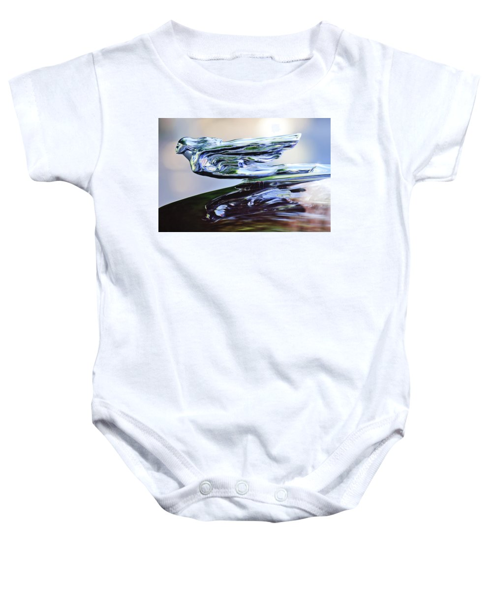 1941 Cadillac Baby Onesie featuring the photograph 1941 Cadillac Hood Ornament 2 by Jill Reger