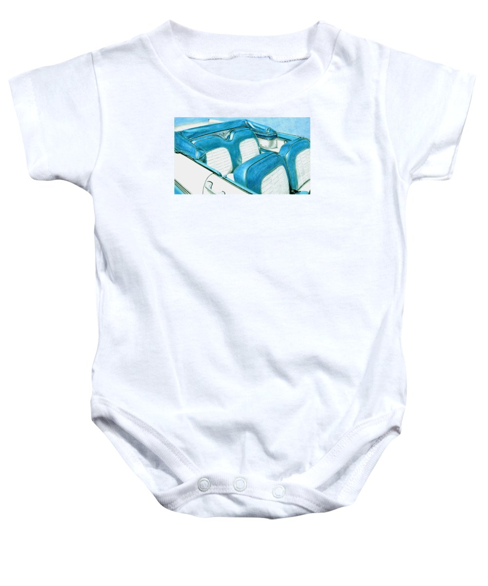 Americana Baby Onesie featuring the drawing 1956 Ford Fairlane Convertible 1 by Rob De Vries