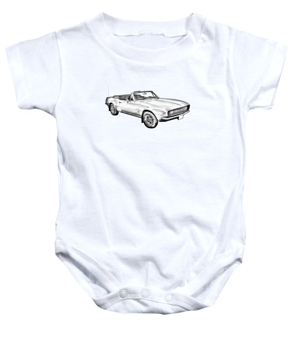1967 Camaro Baby Onesie featuring the photograph 1967 Convertible Camaro Car Illustration by Keith Webber Jr