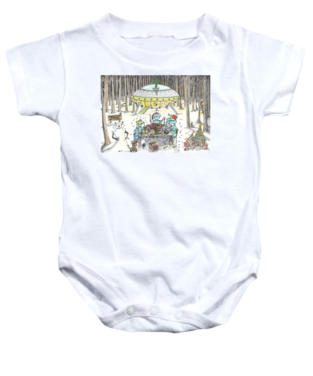 Christmas 1980 In Rendlesham Forest Baby Onesie featuring the painting 1980 Alien Yuletide Feast by Steve Royce Griffin