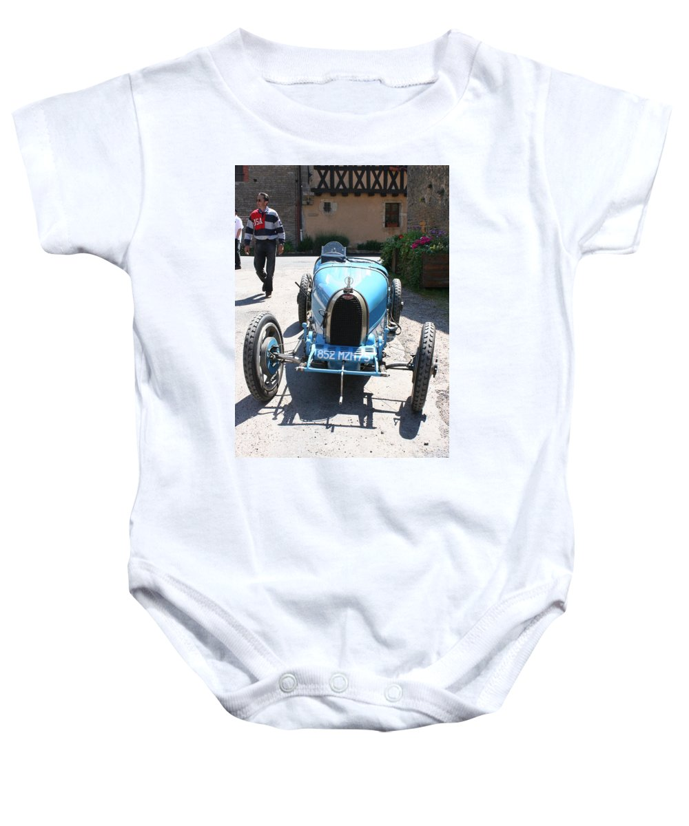 Oldtimer Baby Onesie featuring the photograph Blue Oldtimer by Christiane Schulze Art And Photography