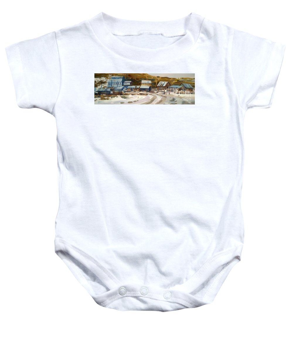 Ghost Town Baby Onesie featuring the painting Bodie California 1979 by Donald Maier