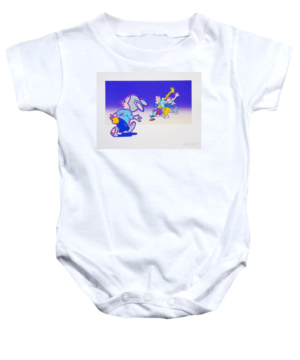 Woodstock Baby Onesie featuring the mixed media By The Time I Got To Woodstock by Charles Stuart