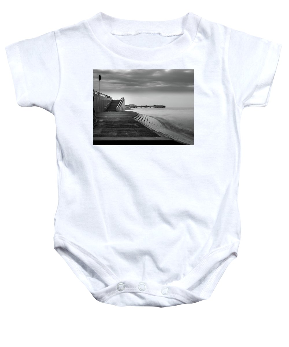 Black And White Image Baby Onesie featuring the photograph Central Pier Blackpool by Mike Walker