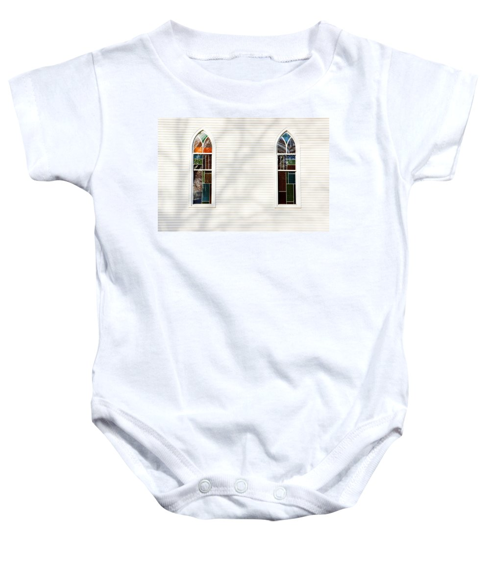 Church Baby Onesie featuring the photograph Church Windows With Tree Shadows by Donald Erickson