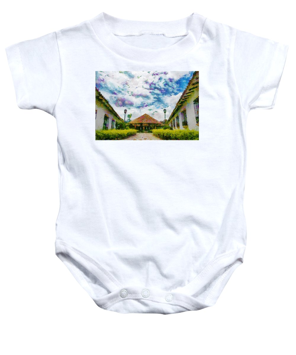 Colonial Baby Onesie featuring the photograph Colonial House by Galeria Trompiz