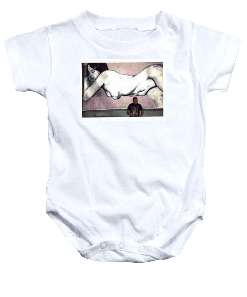 Nude Baby Onesie featuring the painting Missy by Thomas Valentine