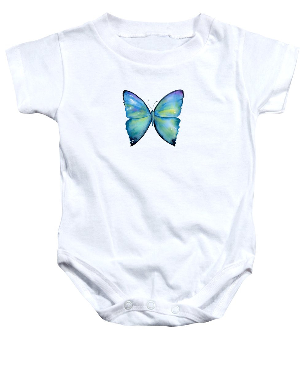 Morpho Aega Butterfly Baby Onesie featuring the painting 2 Morpho Aega Butterfly by Amy Kirkpatrick
