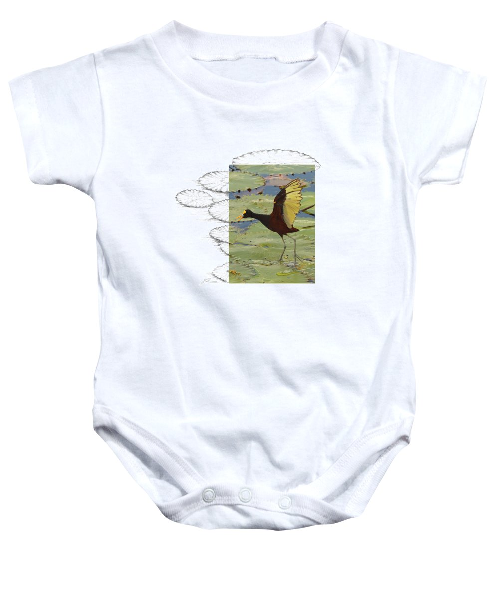 Northern Jacana Baby Onesie featuring the photograph Northern Jacana by Andrew McInnes